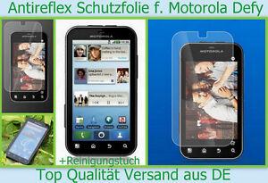 3x Anti reflex Glare Schutzfolie Display Schutz Folie Motorola Defy matt + Tuch