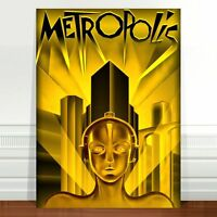 "Vintage Movie Poster Art ~ CANVAS PRINT 24x18"" Metropolis Fritz Lang Gold"