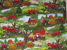 Tractors Farmall Vintage Red Tractor Farm Animal Barn Scene Cotton Fabric FQ