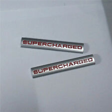 2x Red 3D Silver SUPERCHARGED Sticker Metal Emblem Badge Car Decal sline tts a4