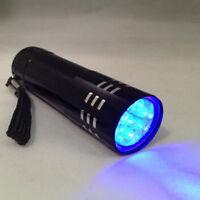 Mini Blacklight New Aluminum Torch Light Lamp UV Ultra Violet Flashlight 9 LED