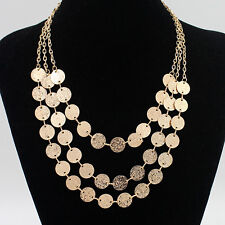 Gypsy Bohemian Coin Necklace Multilayer Sweater Chain Choker Collar Lady Jewelry