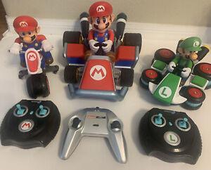 """Mario Kart 7 RC Carrera 13"""" Remote Control Car Remote Motorcycle Luigi Car Lot"""