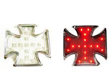 Iron Cross Chrome Malteser Rear Light LED With License Plate Lighting