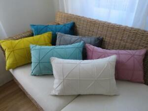 Home Mix & Match **30x50 CM** Velvet Pinch Pleated Pillow Oblong Cushion Cover