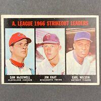 1967 TOPPS BASEBALL SET, #237 AL STRIKEOUT LEADERS, McDowell/Kaat/Wilson