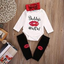 0-6 M Baby Girl Romper Jumpsuit Tops + Headband+Leg Warmer 3PCS Outfits Set US