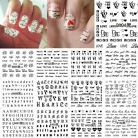 English Letter 3D Transfer Decal Nail Art Sticker Manicure Decor Adhesive Tips
