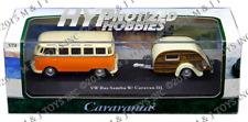 CARARAMA 1:72 VOLKSWAGEN BUS SAMBA WITH CARAVAN III W/ ACRYLIC CASE 12818