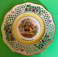 """Schumann Bavaria Germany US Zone Courting Couple 7 1/2"""" Plate Reticulated"""