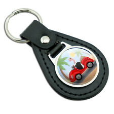 Ostrich Driving a Car Black Leather Metal Keychain Key Ring