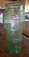 "VINTAGE ♢ TRANSPARENT GREEN GLASS ♢ FLORAL TEXTURED ♢ 15.5""TALL FLOWER VASE"