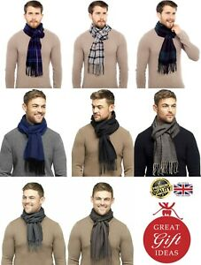 New Tom Franks Men's Checked Tartan Herringbone Long Brushed Soft Winter Scarf