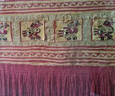 Pre Columbian Chancay Woven Textile Fragment w Birds. Peru. c.1000 AD.
