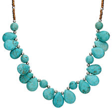 Turquoise Colored Stones Necklace Silver Balls  Free Shipping Fashion Jewelery