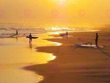 PHOTOGRAPH SEASCAPE WAVE SEA SURF BEACH SUNRISE SURFERS SURFING POSTER LV11091