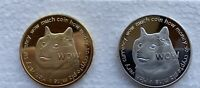 Set Of 2 Dogecoin Commemorative Collectors Doge Coins Silver/gold Crypto Bitcoin