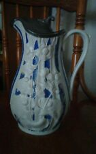 Ant Victorian English Parian Blue/White Porcelain Pitcher Signed T. Booth Hanley