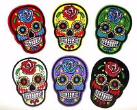 Sugar Candy Skull Iron On Patch Badge Day of the Dead Transfer Jacket Hat Bag