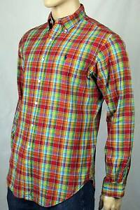 Ralph Lauren Red Green Plaid Classic Oxford Dress Shirt Blue Pony NWT