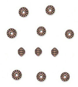 100 Antique Copper Plated Corrugated Double Cone Metal Beads 5MM
