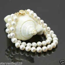 """2 rows 7-8mm white freshwater cultured pearl bracelet 7.5-8"""" YY001"""