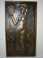 Beautiful Lady Flower Vtg Russian Portrait Copper Metal Picture Girl Woman USSR