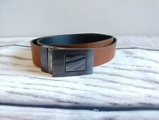Mens Real Leather Tan Brown Belt with Metal Buckle W32-33