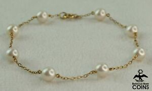 Mikimoto 14k Yellow Gold & Akoya Cultured 8-Pearl 6mm Tin-Cup Chain Bracelet