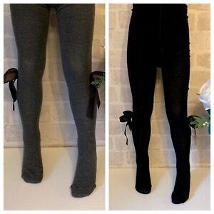 Spanish Girls Bow Tights, Winter Warm School Uniform Grey Black Navy Baby Girls
