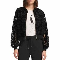 DKNY NEW Women's Velvet Mesh Front Zip Bomber Jacket Top TEDO