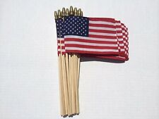 """Lot of 12 -18 x 12 Inch Us American Flags on 30"""" Stick with Gold Spear Tip"""