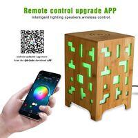 UPPEL LED Bluetooth Speaker Qi Wireless Charger Bamboo Speaker Multi-Function