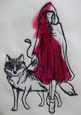 """Embroidered Quilt Block Panel """"Red and The Wolf"""" Cream Linen Fabric"""