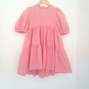 Next Girls Summer Coral Pink Tiered Dress Age 10 Years - Worn Twice