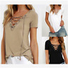 New women ladies v neck lace up tie eyelet stretched top short sleeve 8-16  8196