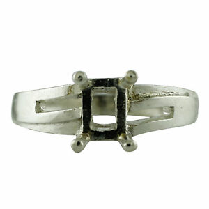 Semi Mount 5X7MM Octagon Shape Faceted Cut Ring 925 Sterling Silver Jewelry