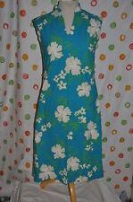 HAWAII Royal Palm BLUE white  FLORAL LONG vintage   DRESS BOHO WOMEN'S Small USA