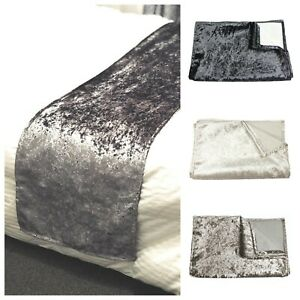 """Luxury Crushed Velvet Bed Runner Glamour Designer Lined 16""""x82"""" Double/King Size"""