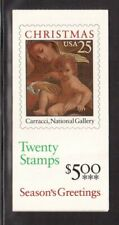 USA 1989 COMPLETE BOOKLET OF 20 STAMPS #2427, CHRISTMAS !!  E89