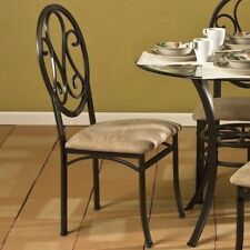 Classic 4 Pc Metal Dining Side Chairs Upholstered Seat Iron Scrolled Brown Beige