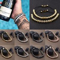 Luxury Micro Pave CZ Ball & Crown Braided Copper Bead Men's Bracelets Jewelry