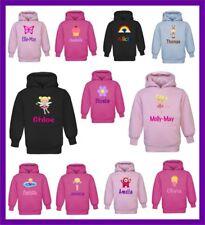 Personalised Children's Kids Printed Hoodie Hooded Jumper GIRLS DESIGN ANY NAME