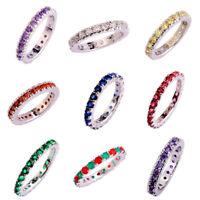 Amethyst & Ruby & Garnet & White Topaz Gemstone Silver Ring Sz L N P R T V Y 13