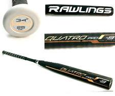 """Rawlings Quatro Pro -9 Softball Bat 34"""" 25oz USSSA NSA 2 1/4"""" Focused Flex Black"""