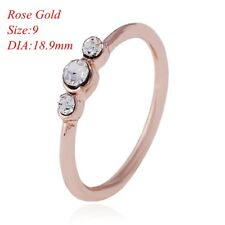 Women  Jewelry Anniversary Gift Rhinestone Thin Ring Silver Gold Diamond Sz5-10