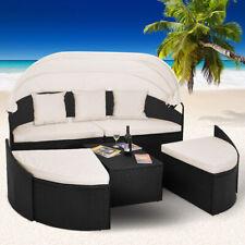 Poly Rattan Sonneninsel Gartenliege Sonnenliege Lounge Sitzgruppe Gartenmuschel