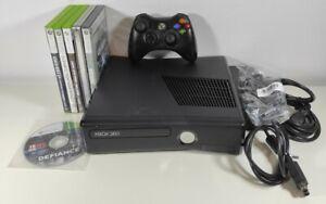 Microsoft Xbox 360 Slim Console 4gb + Controller + Cables + 6 Game Bundle Lot