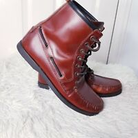 Faconnable Ladies Leather Ankle Boots Sz UK 5 EUR 38 Lace Up Brown Moc-Toe Work