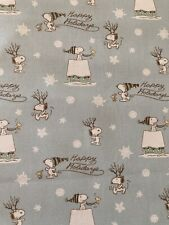 SNOOPY Peanuts HAPPY HOLIDAY 100% Cotton Fabric by the Half Yard